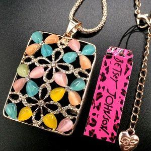 Betsey  Johnson Muilt Color Opal Flower Pendant